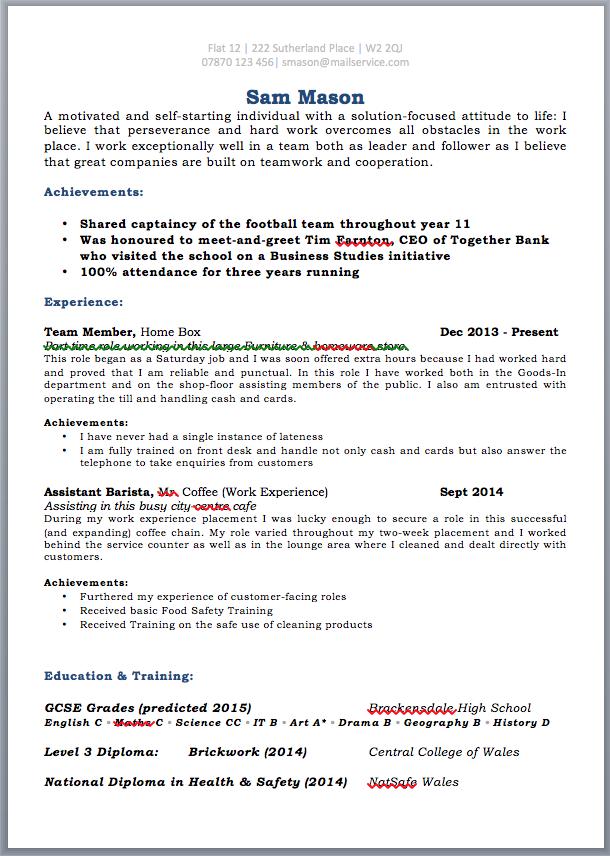 school leavers cv template uk