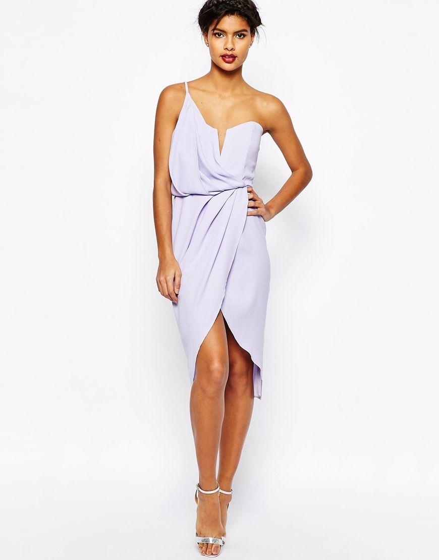Image 1 of ASOS Asymmetric One Shoulder Wrap Front Pencil Dress ...