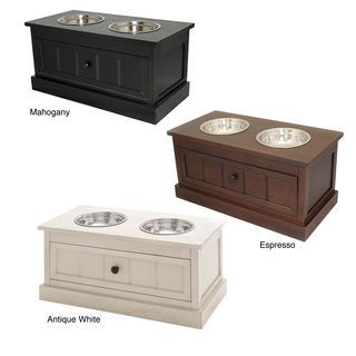High Quality Malibu Solid Wood Pet Bowl Feeder With Storage Drawer | Overstock.com  Shopping   The Best Prices On Casa Cortes Feeders