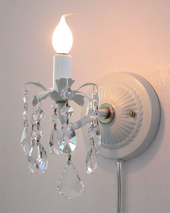 Pair Of Plugin Wall Sconces With Crystals By Gingerschoice On Etsy 93 00 For Makeup Vanity Plug In Wall Sconce Candle Wall Sconces Wall Lamp
