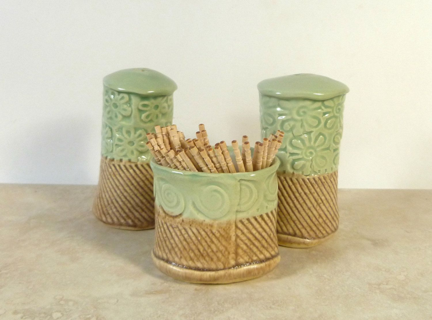 Salt+Pepper+and+toothpick+cup+set+of+three+by+flyingpignc+on+Etsy,+$30.00