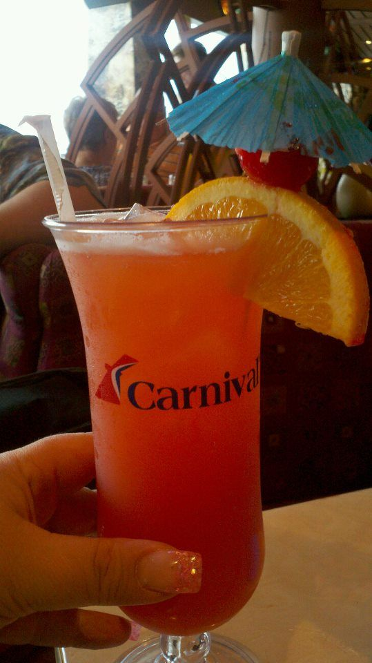 """""""Welcome Aboard Carnival Cruise Line"""" drink"""