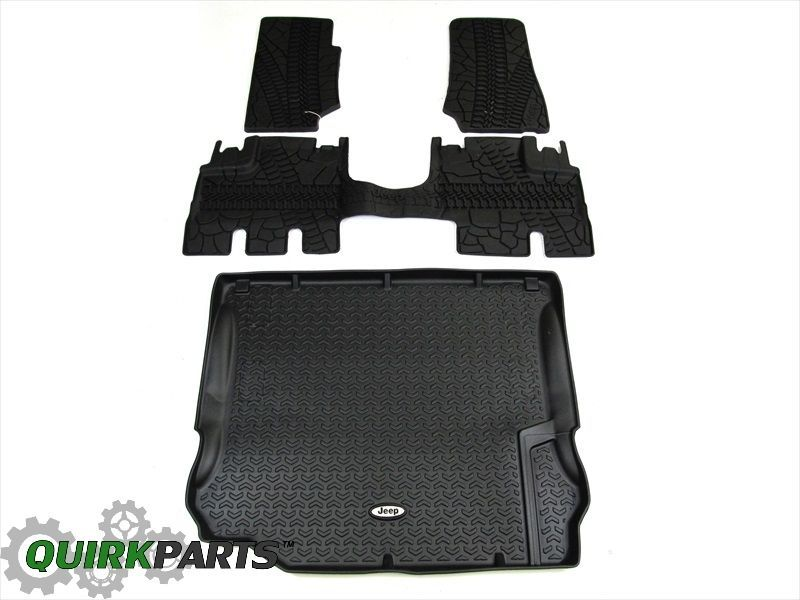 09-10 JEEP WRANGLER 4 DOOR RUBBER SLUSH MAT CARGO TRAY SET OF 4 NEW MOPAR  #MOPAR