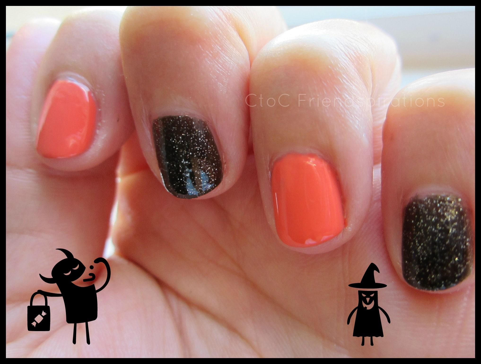Tipsy Tuesday: Black and Orange Halloween Nails (With ...