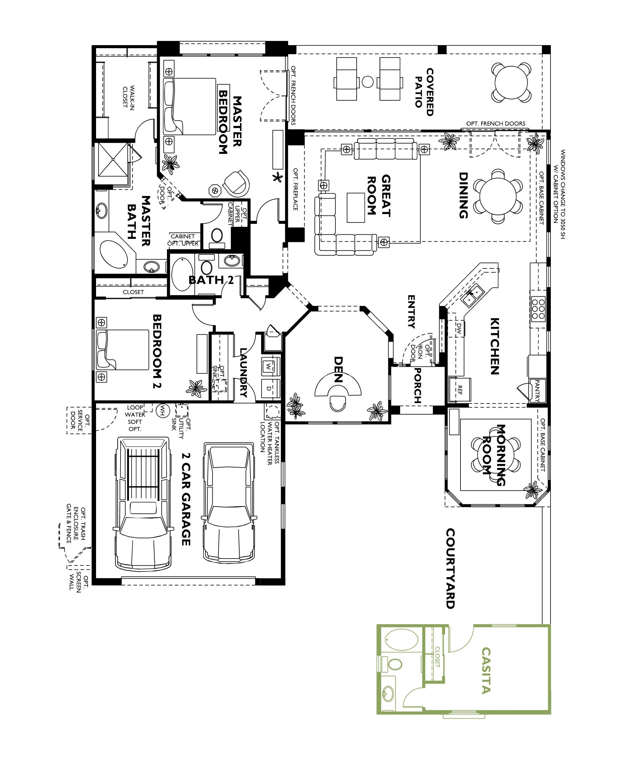 Trilogy at vistancia cadiz floor plan model home with for 2 bedroom casita plans