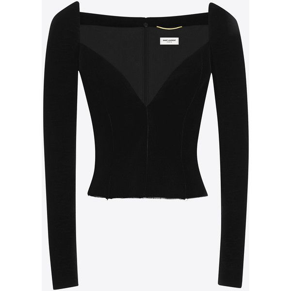 Saint Laurent Black Sweetheart Bustier Top (€2.515) ❤ liked on Polyvore featuring tops, bustier tops, sweetheart top, sweetheart bustier, yves saint laurent and sweetheart bustier top