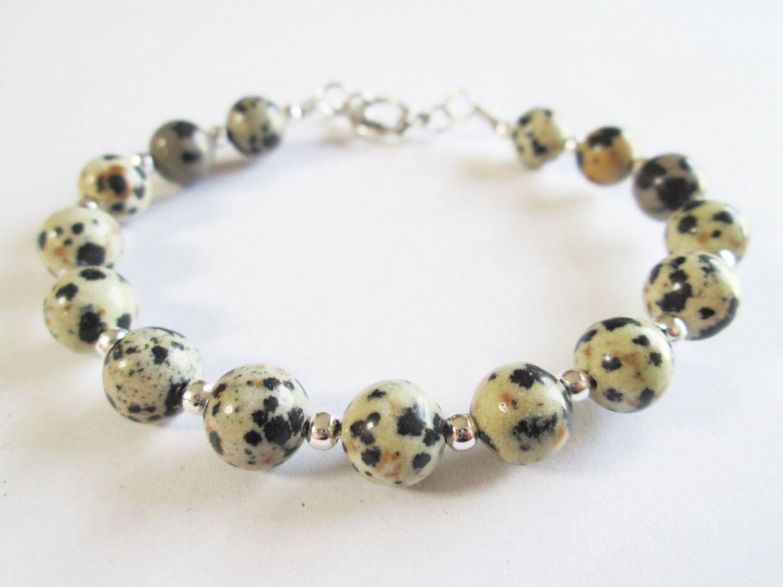 Handmade Wire Wrap Bracelet with Dalmatian Jasper Gemstone Beads ...