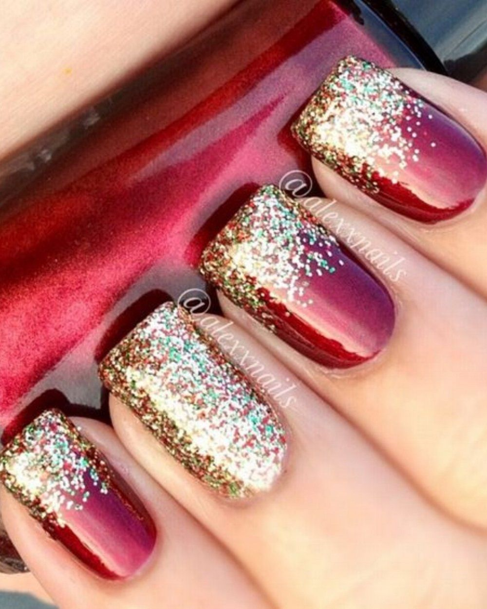 Festive Nail Art: Deep Red with gold and multicolour glitter tips ...