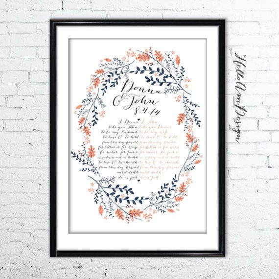 Wedding Vows Gifts Ideas: Our Wedding Vows 1st Paper Anniversary Custom Vows By