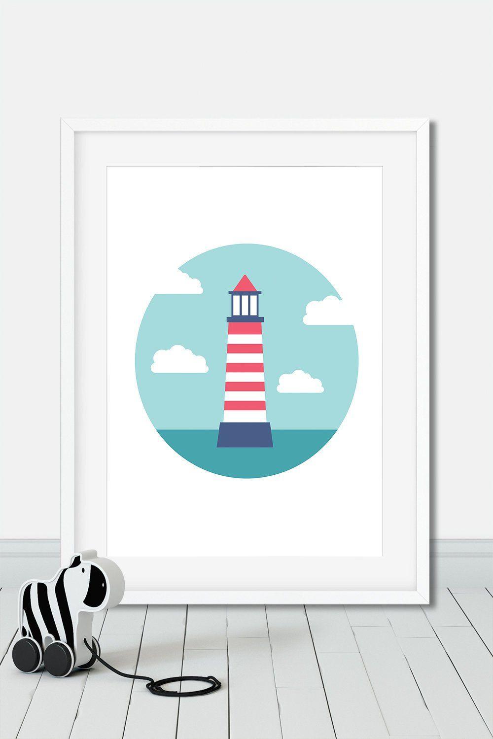 Baby Nursery Lighthouse Print Ocean Theme Nursery Decor Kids