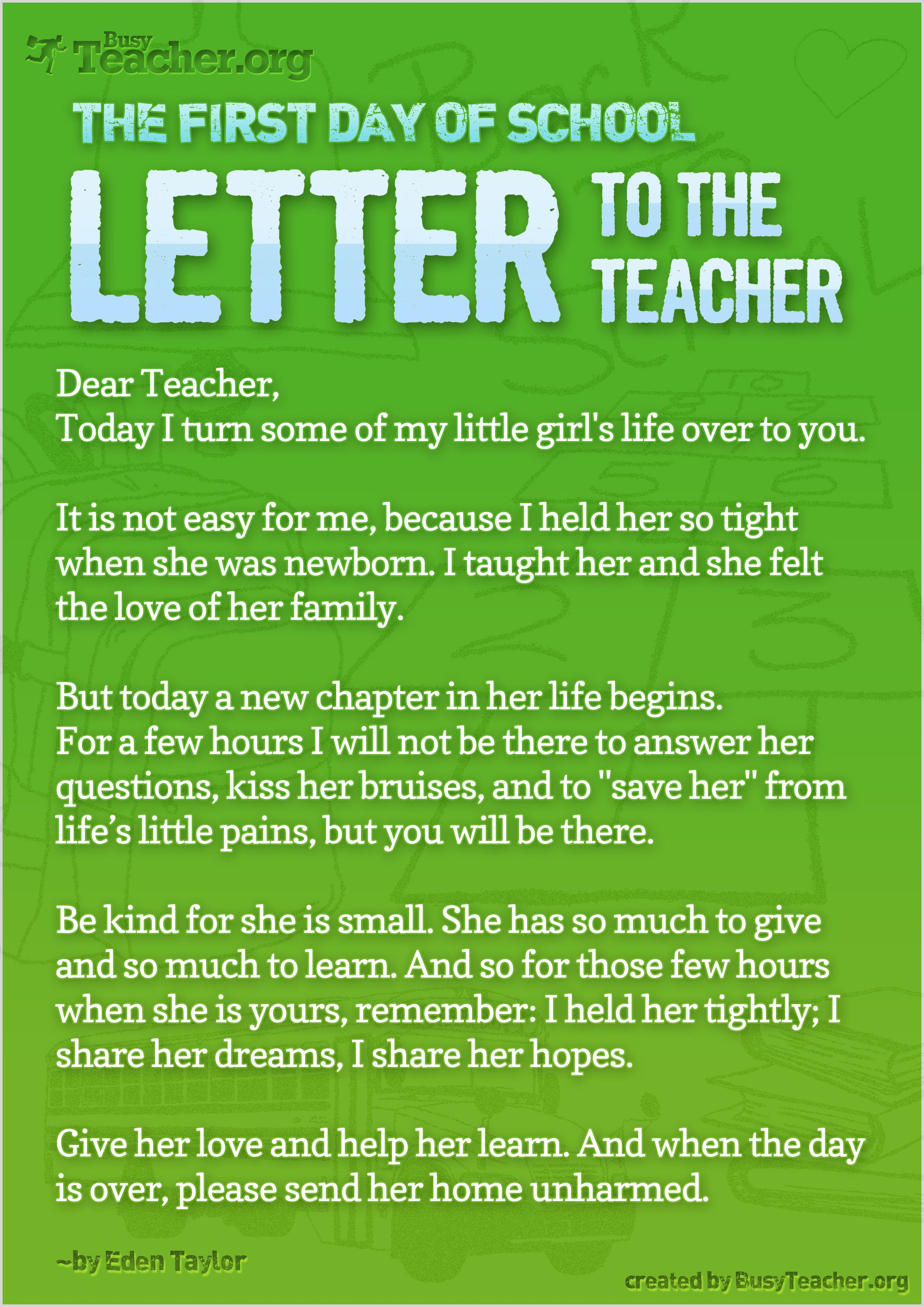 First Day Of SchoolLetter To The Teacher  What A Huge