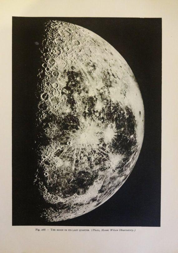1950 S Moon Original Vintage Space Astronomy Print Ref268 Illustration Vintage Astronomy