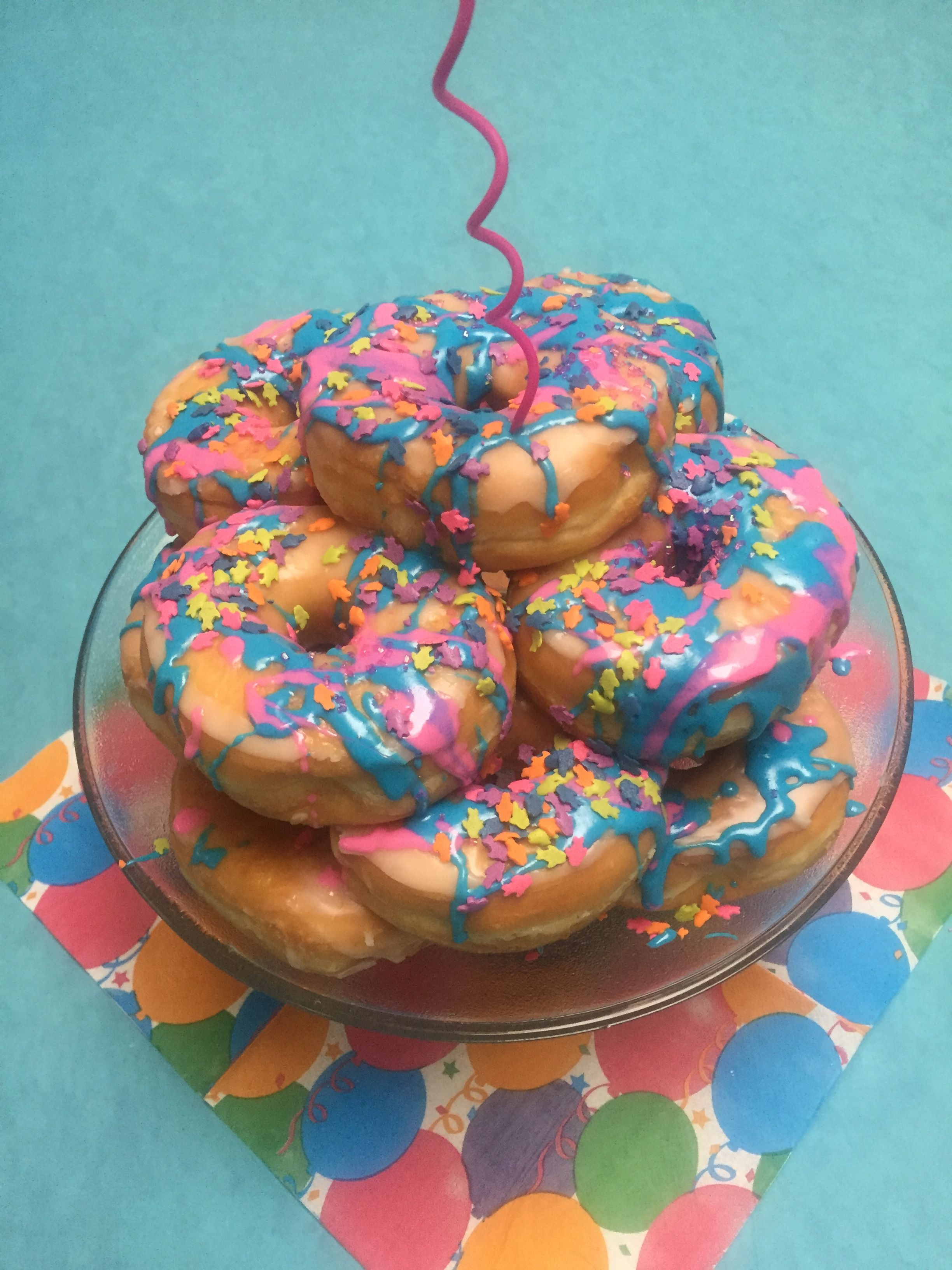 Birthday breakfast donut cake stack a bakers dozen drip