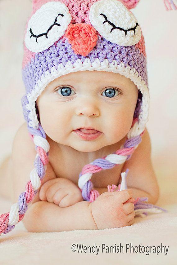 vendita professionale Cheaper grande sconto Gufo cappello, crochet gufo rosa cappello, cappello sleepy gufo ...