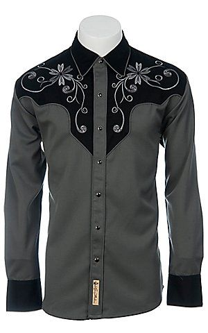 f6c0ead4 Larry Mahan L/S Black & Grey Retro Shirt | Men's Apparel & Jeans ...