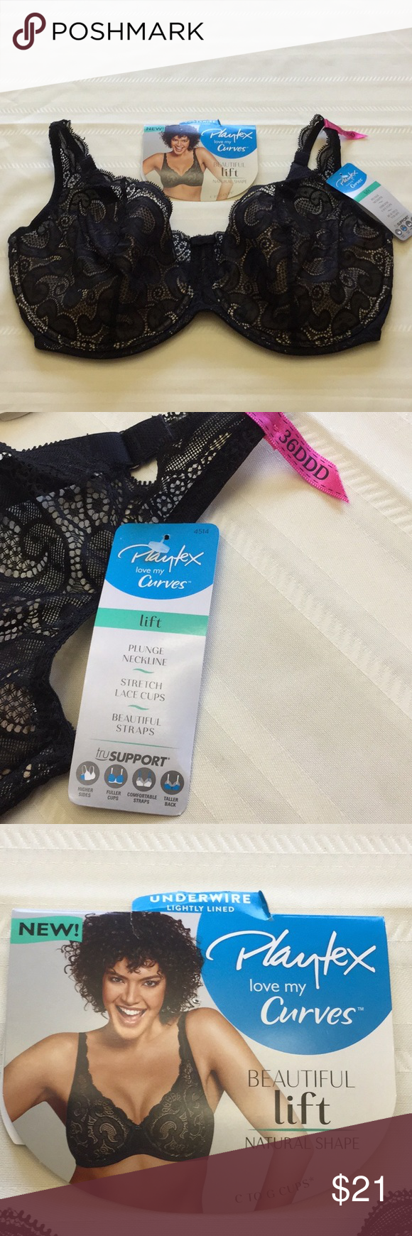 36a4bf301b Playtex Underwire Lightly Lined Lift Lace Bra Playtex love my Curves  Beautiful Lift Bra Underwire Lightly