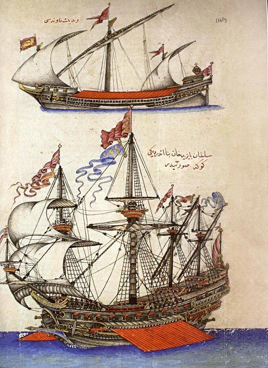 "Top: A Venetian ""Mavna"" ship.  Below: An Ottoman ""Goke"" ship belonging to the Bayezid II reign (1481-1512). Topkapi Palace Museum Library, Revan 1192, fol. 16ba."