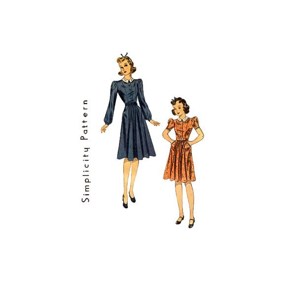 Simplicity 3194: Vintage 1930s Sewing Pattern Dress Button Front 34 by retromonkeys