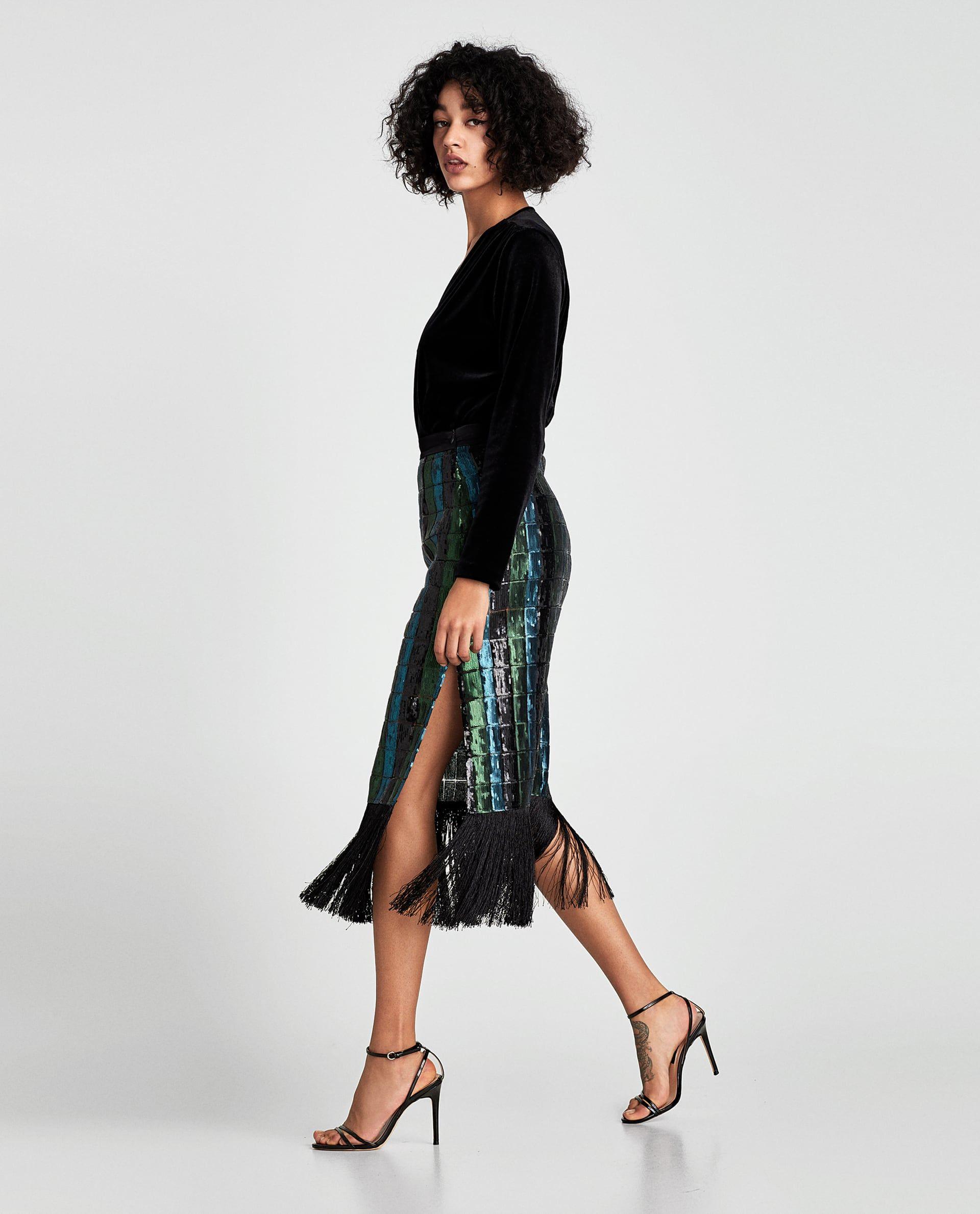 SEQUINNED SKIRT WITH FRINGE | Style Inspirations | Pinterest