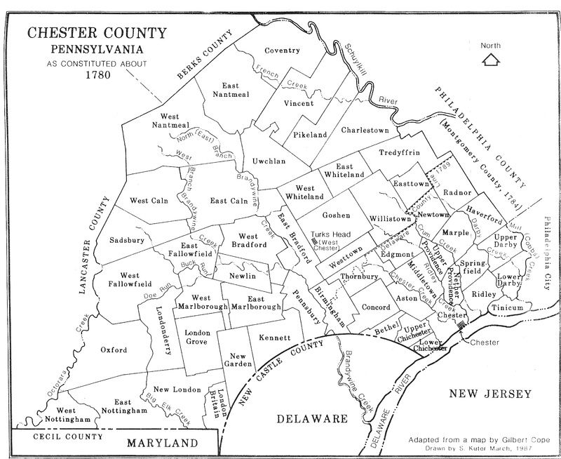 1780 Map Of Chester County Pa