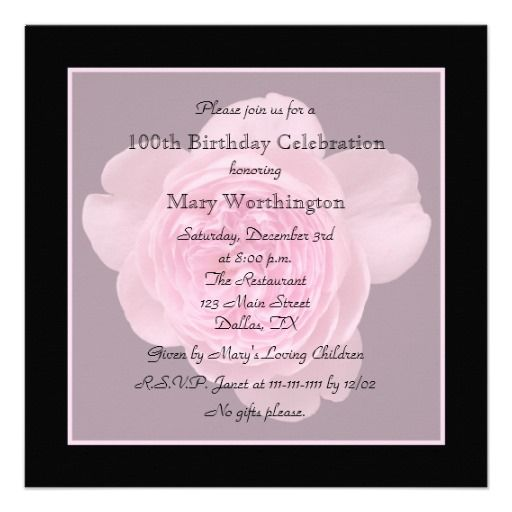 100th birthday party invitation rose
