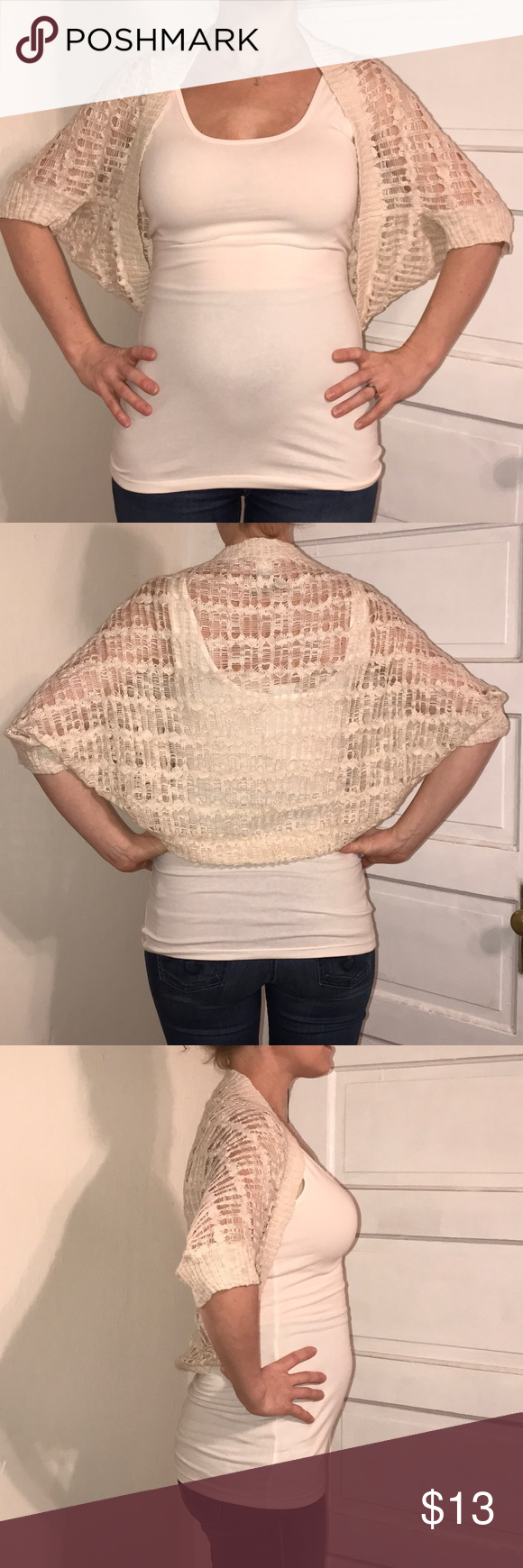Cream colored shawl shrug cardigan size M Simple and classy shrug ...