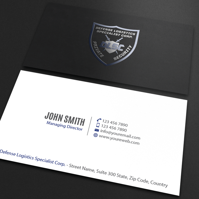 Business Cards For A Security Guard Company By An Designer Company Business Cards Security Guard Companies Custom Business Cards