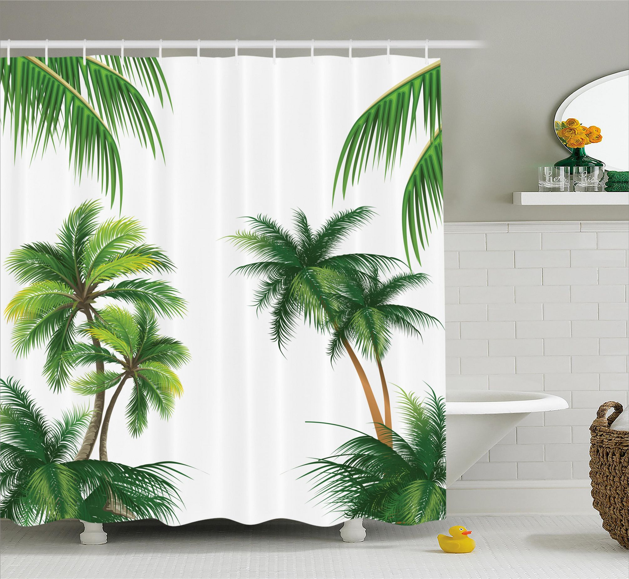 Coconut Palm Tree Plants Shower Curtain Tropical Shower Curtains