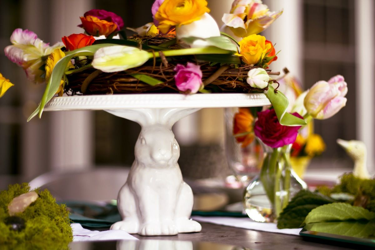A bright and beautiful floral-filled Easter tablescape