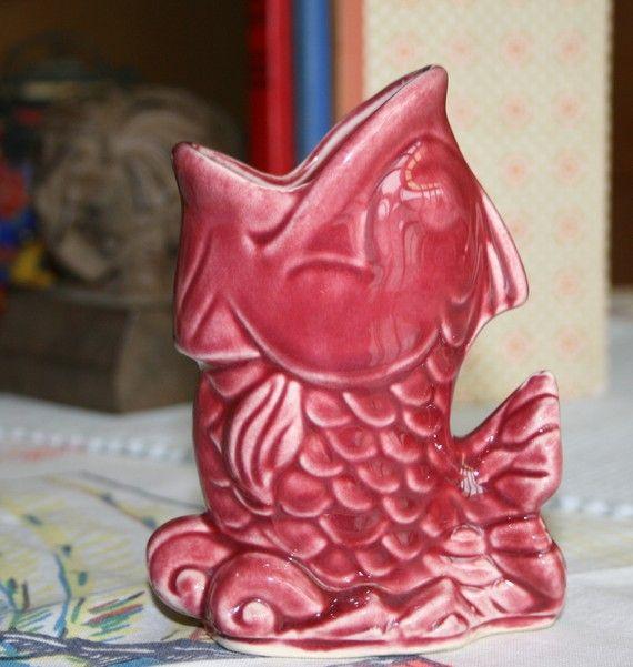 Maroon Garden Ideas: Vintage Koi Fish Vase Maroon USA Pottery By TheColonies On