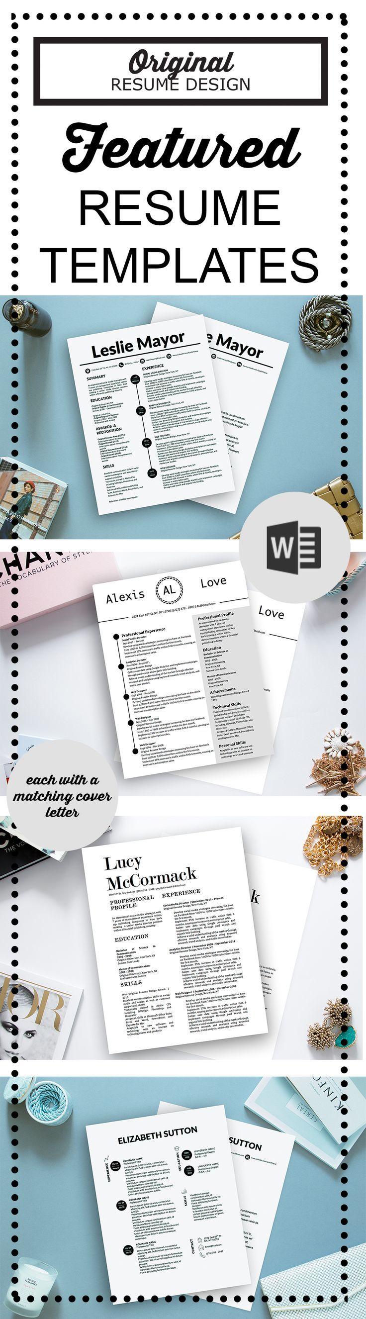 Featured Resume Templates Resume Tips Resume Design Job Resume