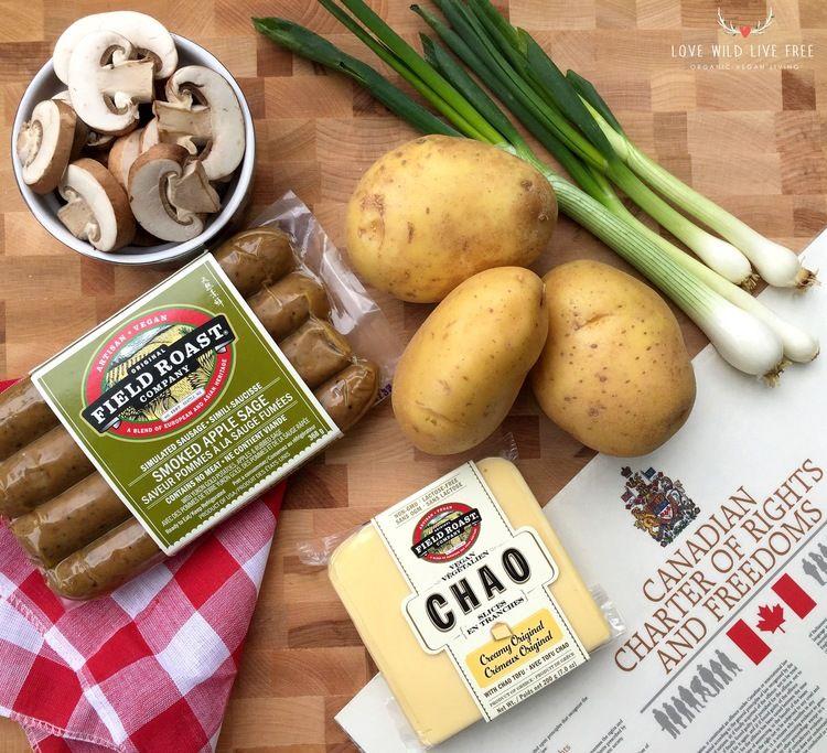 Epic Vegan Poutine With Field Roast Apple Sage Sausage Creamy Chao Cheese Mushroom Gravy Love Wild Live Free Field Roast Sage Sausage Roasted Sausage Recipe