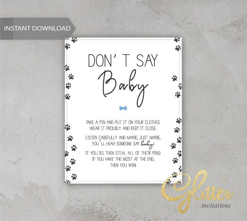 Puppy boy baby shower, Printable Diaper Pin, Clothes Pin Game, Printable girl Dont Say Baby, CY024