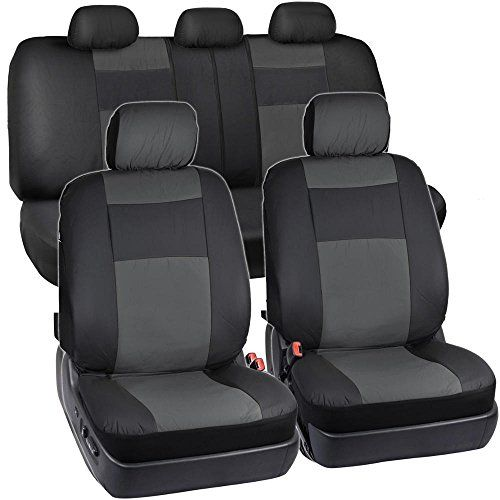 Black Charcoal Gray Synthetic Leather Seat Covers For Car SUV Auto Two Tone Style