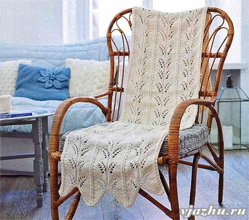 Накидка на кресло спицами, описание работы и схема
