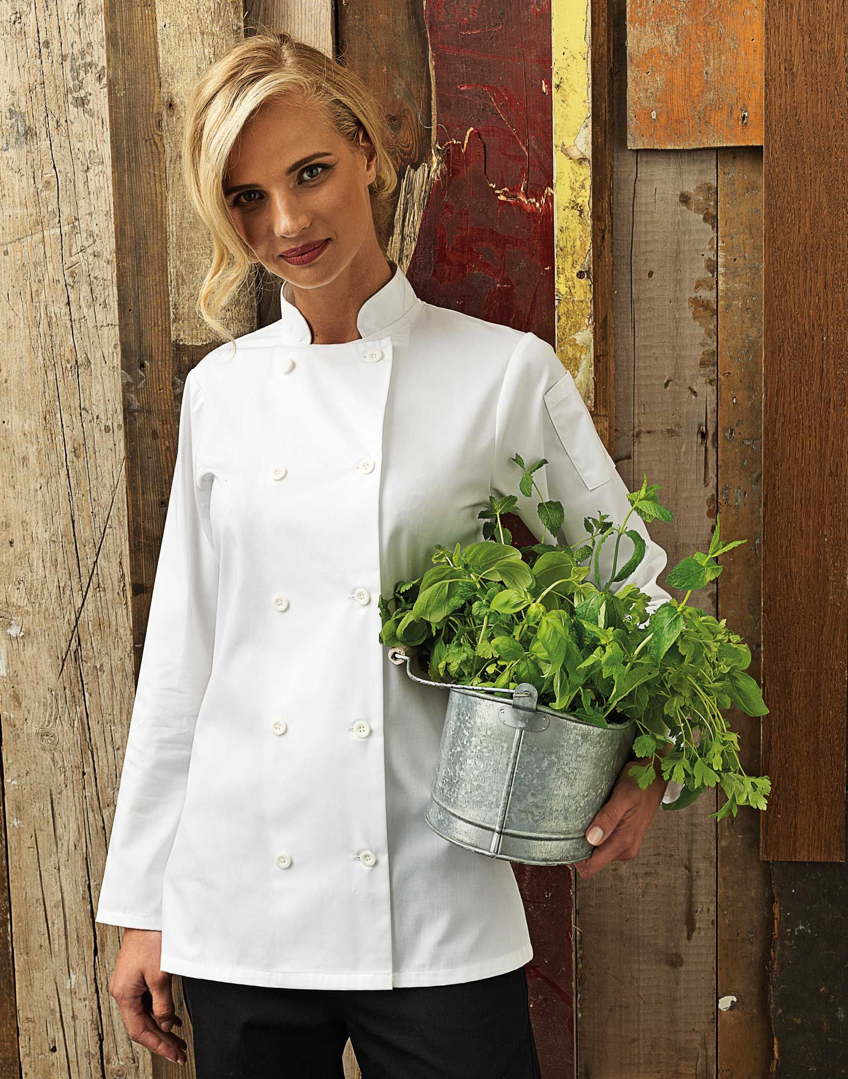 d9378749a1c0f Women's PR671 Long Sleeve Chef Jacket with fitted styling around the upper  arm, waist and bust area in a wrap over style. #chef #women #fashion # chefwear ...