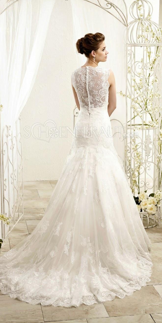 Vintage Brautkleid mit Spitze Elegant Standesamtkleid V Ausschnitt ...