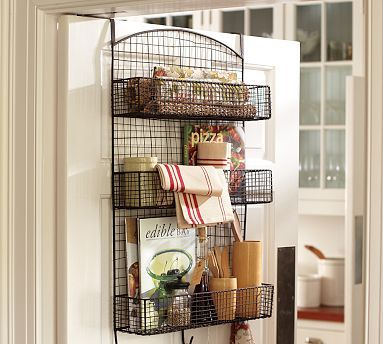 Behind The Door Wire Storage Potterybarn Can You Attach Separate Wire Baskets Mounted On A Board To The Wall Small House Organization Wire Storage Home