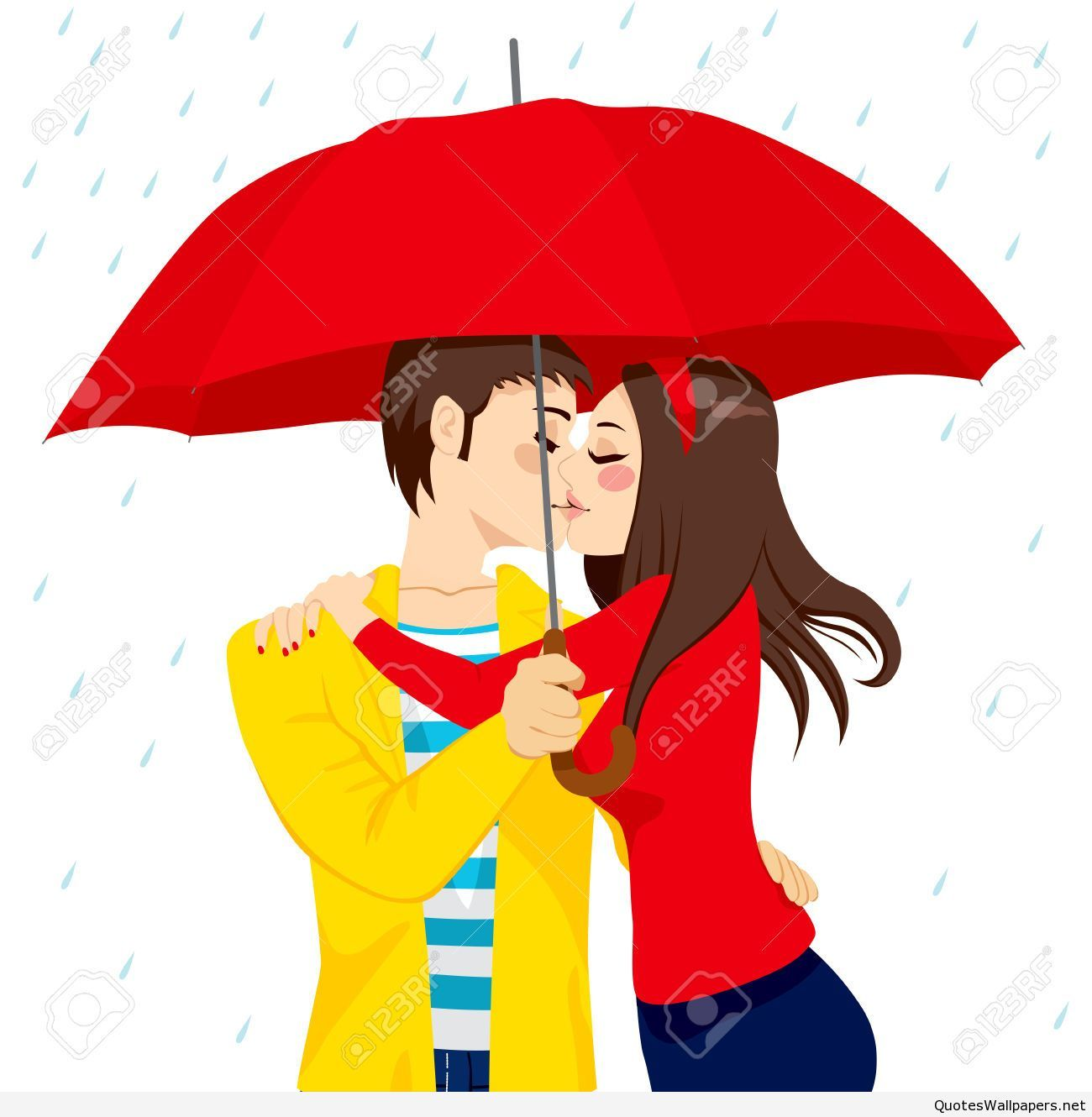 sweet couple in love hugging and kissing under big red umbrella on