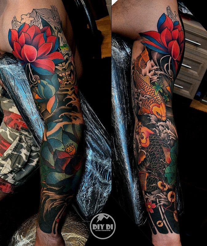 Tattoo Diy Di - tattoo's photo  In the style  Oriental, Male, Carps, Flowe (459700)