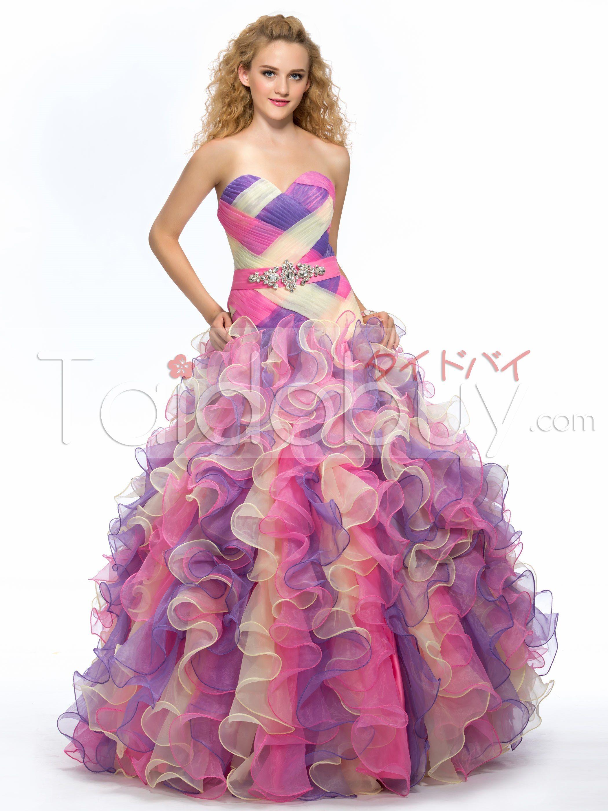 スイートハートクリスタルルーシュひだ飾りロングカラードレス