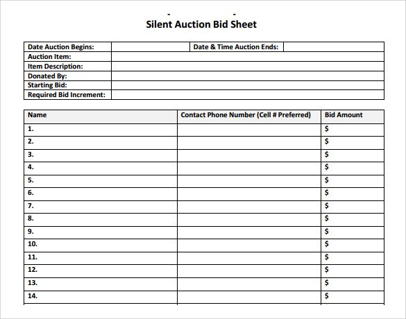 Silent Auction Bid Sheet Template   Download Free Documents In