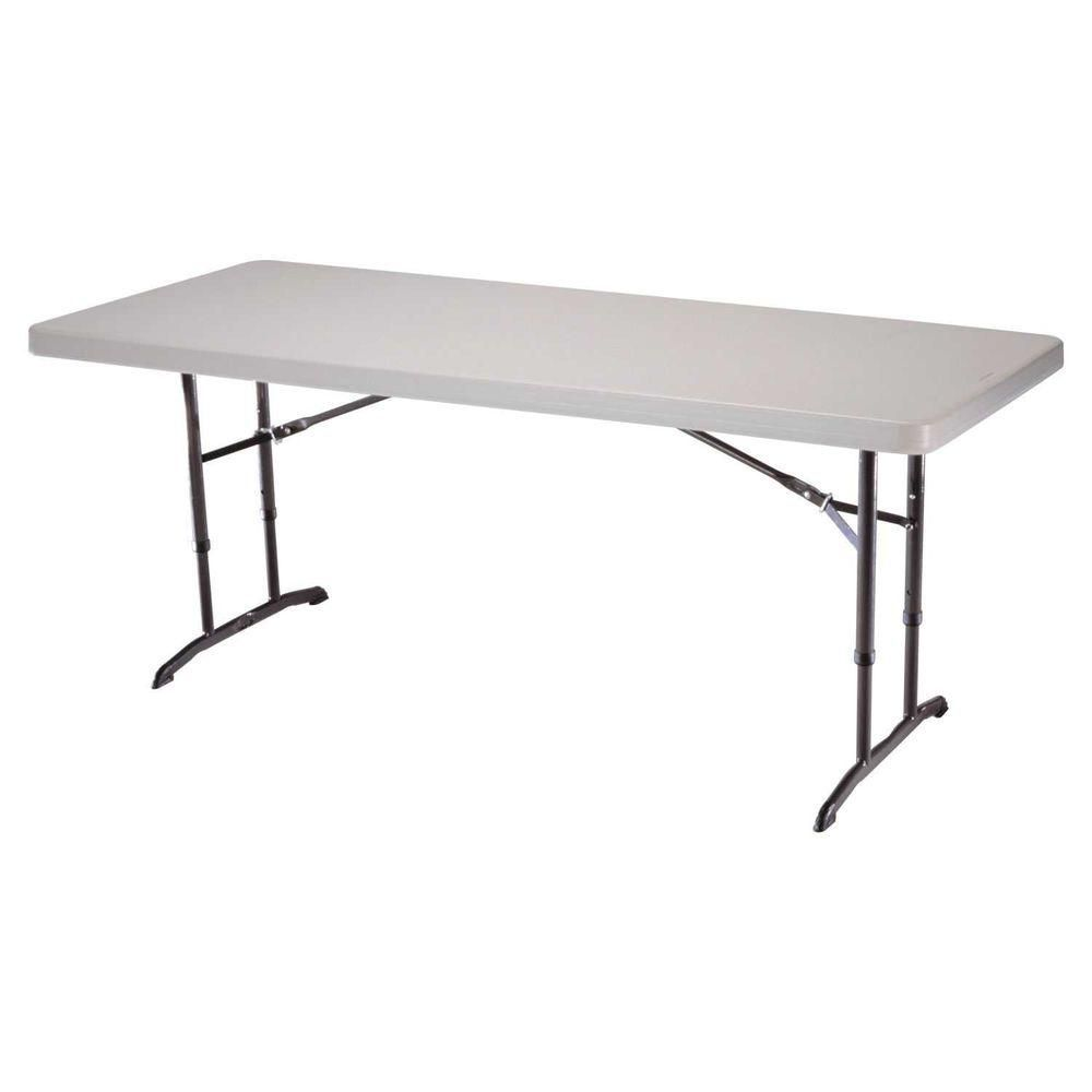 Lifetime 6 Ft Almond Adjustable Height Folding Table 22920 The