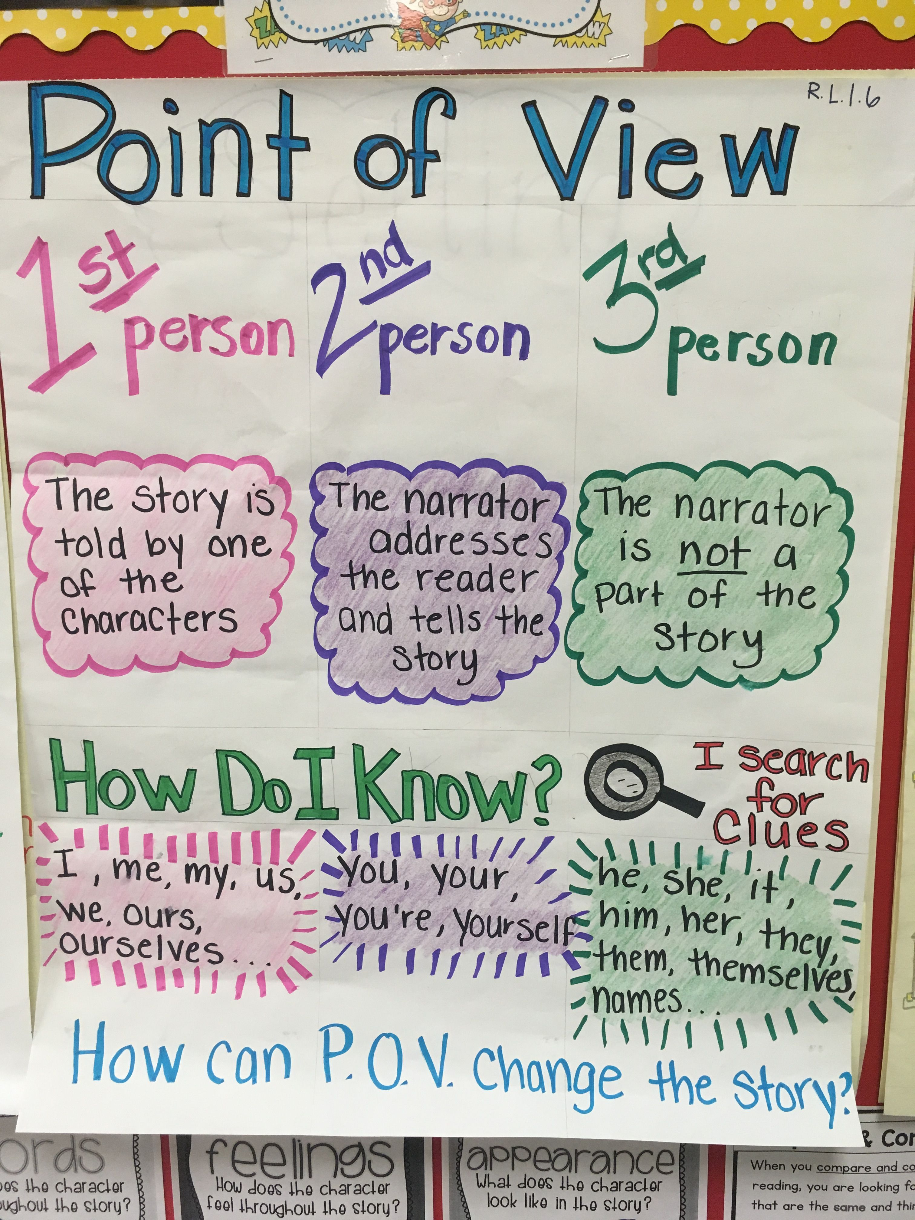 I Made This Pov Chart For My First Grade Readers