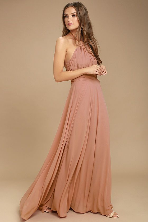2d86b1af03a9a You'll be a force of nature on the dance floor in the Dance of the Elements Rusty  Rose Maxi Dress! Woven poly drapes into a halter bodice with adjustable ...