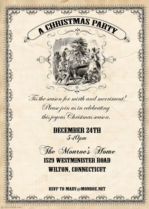 Dickens old fashioned christmas party invitation christmas dickens old fashioned christmas party invitation stopboris Gallery