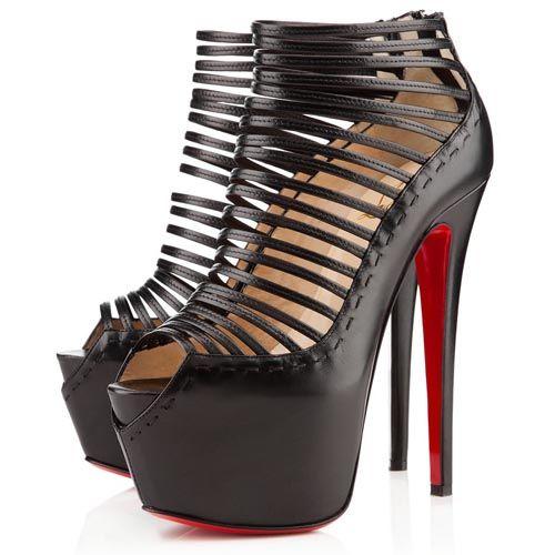 christian louboutin black strappy heels