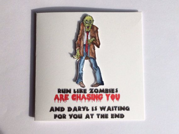 Zombie Card The Walking Dead Card Funny Zombie Card Birthday Card