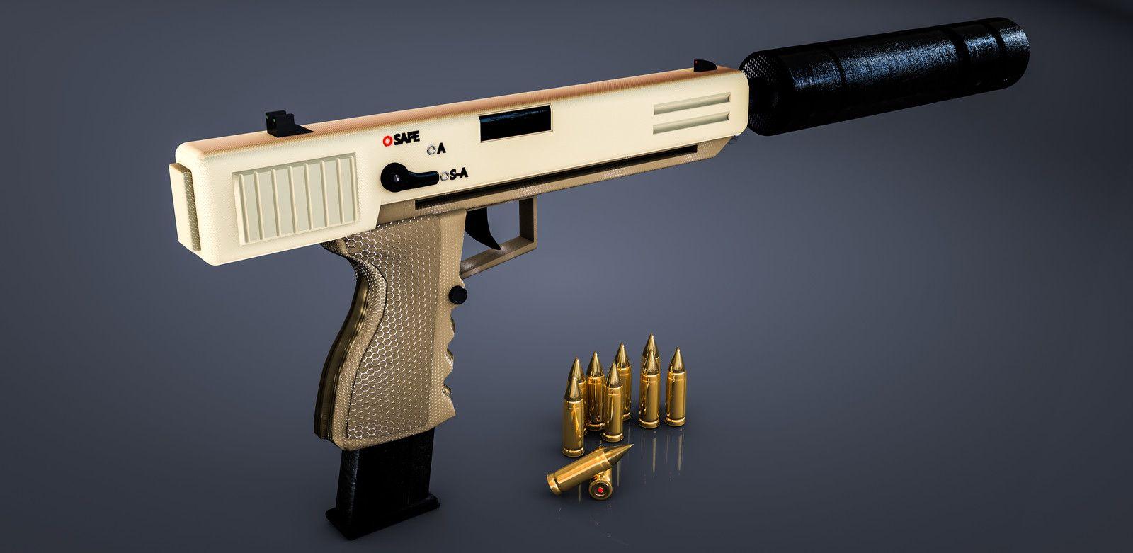 Custom pistol with silencer, Noor Almadi on ArtStation at