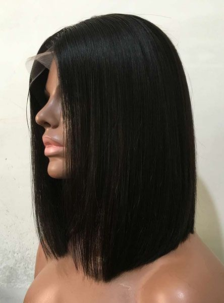 Something is. black bob wig with bangs